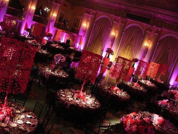 Uplights add texture to a very ornate room and decor at the Biltmore Hotel.