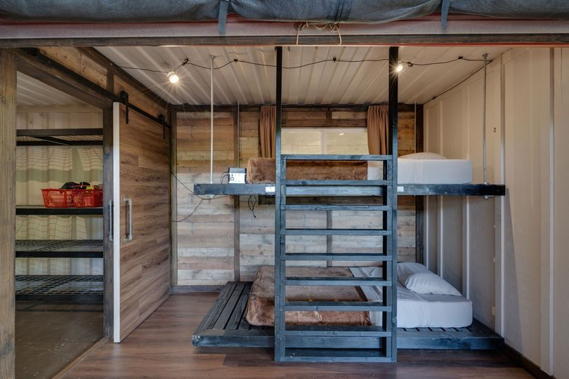 Bunk cabin beds and closet