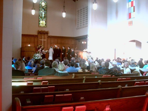 A 'coordinators view' of the ceremony. Note the sun streaming in through the stained glass in this...