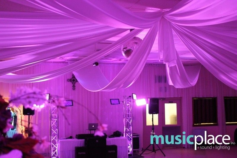 Purple uplighting and ceiling wash