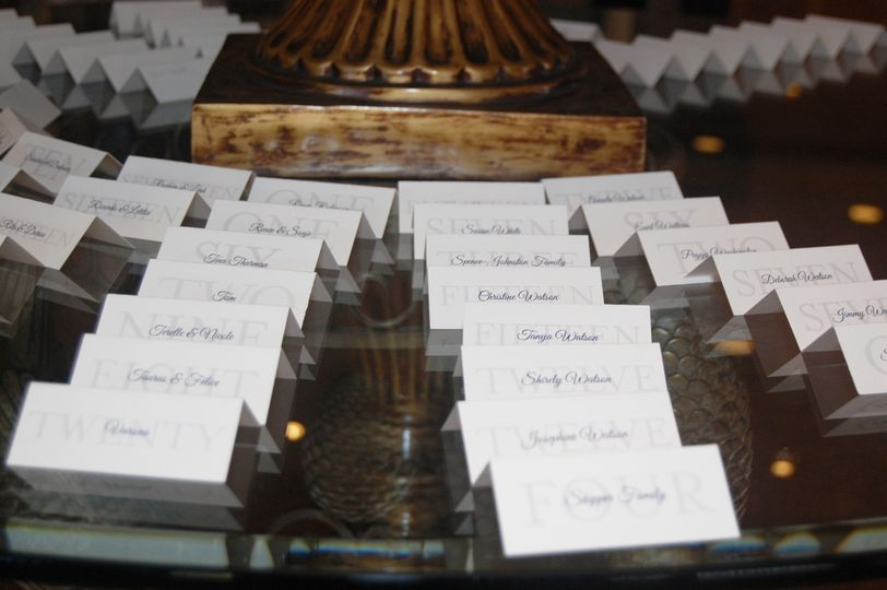 Place-cards table set-up