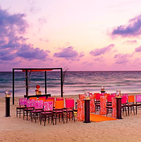Sunset beach wedding setup