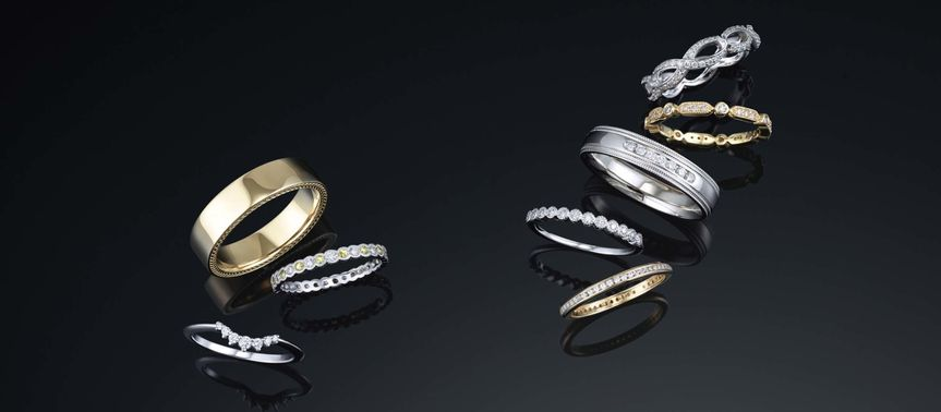 Wedding bands are available in any color of gold, as well as platinum, sterling and alternative...