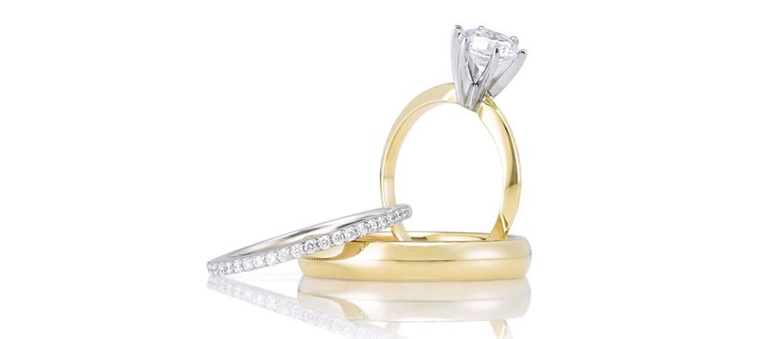 Classic solitaires, accented or solid gold bands are always in style