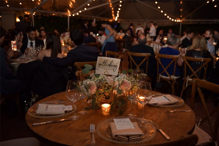 Table with medium centerpieces