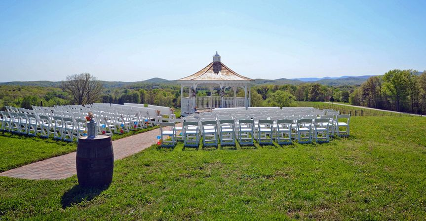Ceremony area at the Three Sisters Vineyards, Inc .