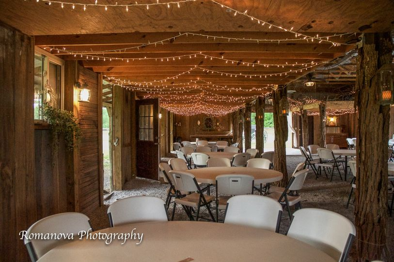 Reception barn with twinkle lights