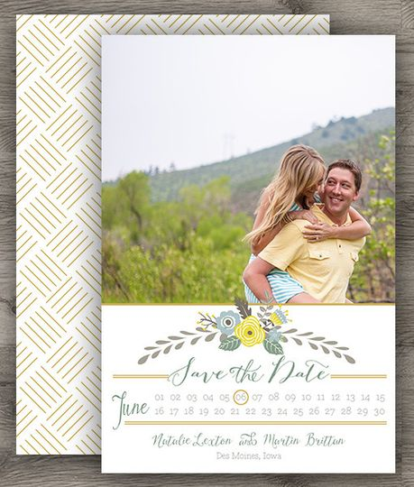 vintage yellow save the date 3