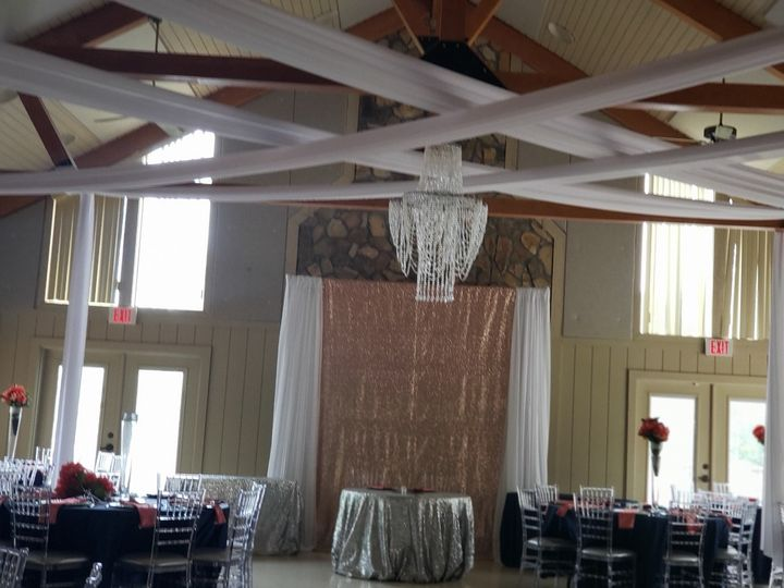 Ceiling drapery with chandelier