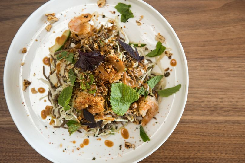 Cold noodle & shrimp salad