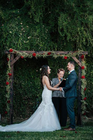 Making their vows.