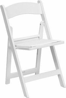 White padded resin chair