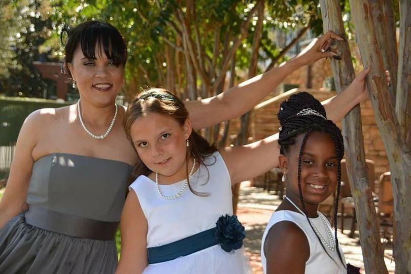 Bridesmaid and kids at the wedding