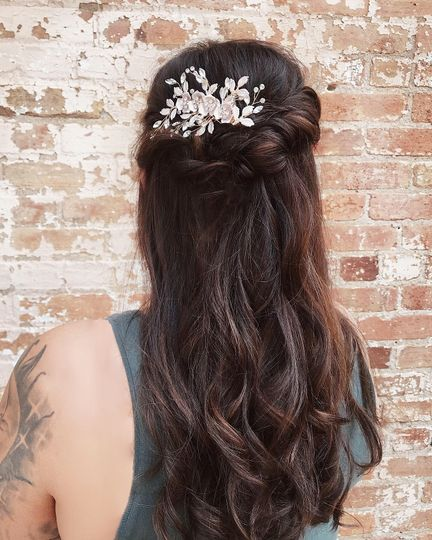 Half updo on the lovely bride!