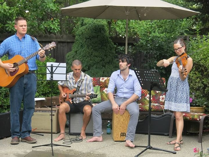Poolside band at a Wedding reception BBQ.