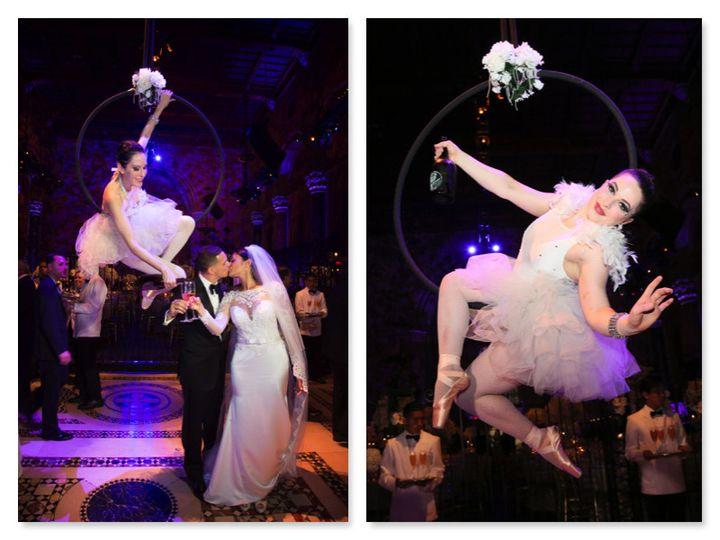cirque central aerial hoop champagne cipriani wedd
