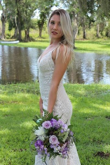 Bride with her lavender bouquet