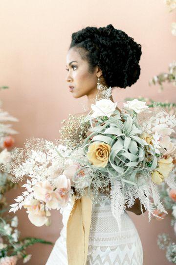 Modern garden bridal bouquet