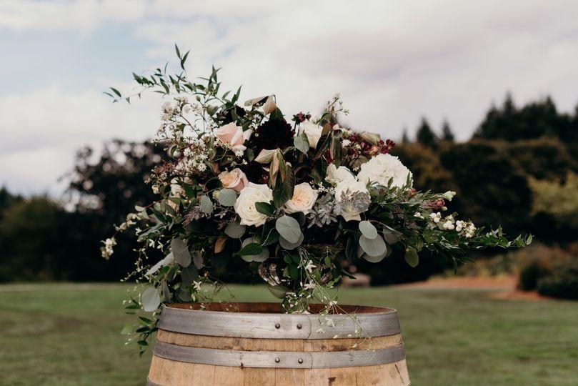 Wine barrel ceremony bouquet