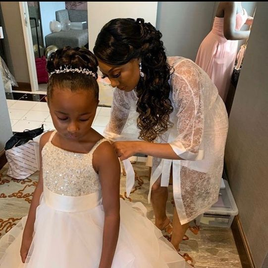 Bride malia and flower girl