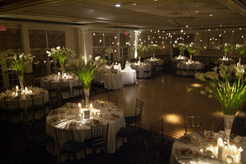 Reception table lights and centerpieces