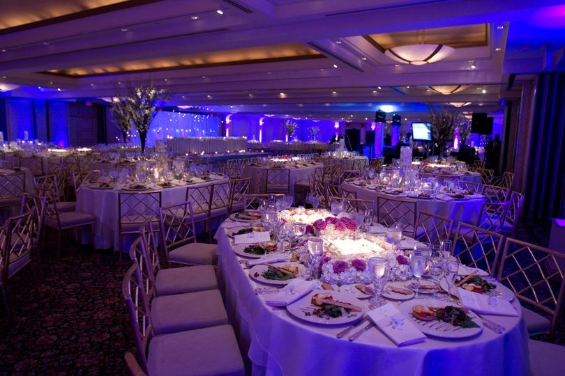 Blue reception hall uplighting