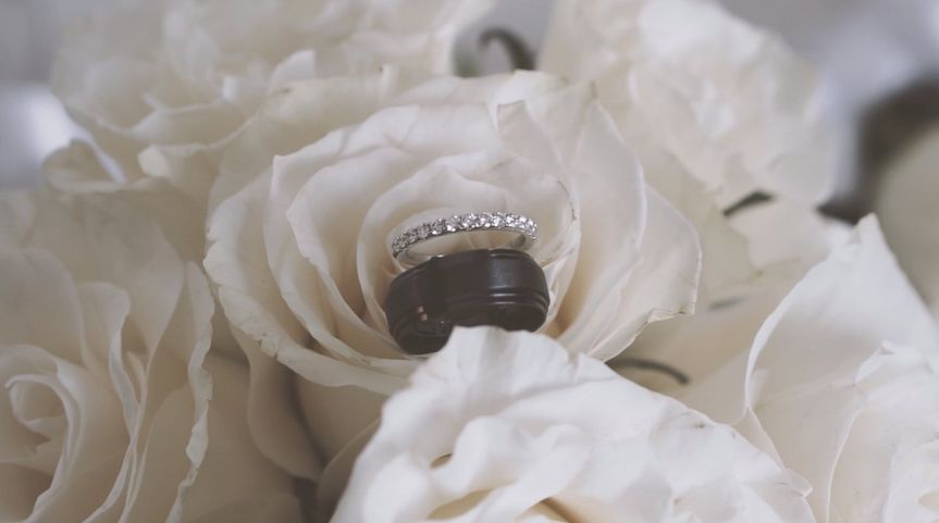 Wedding rings on white rose