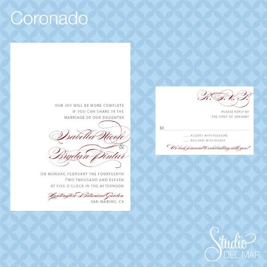Coronado Suite - Invite and RSVP card www.thestudiodelmar.com
