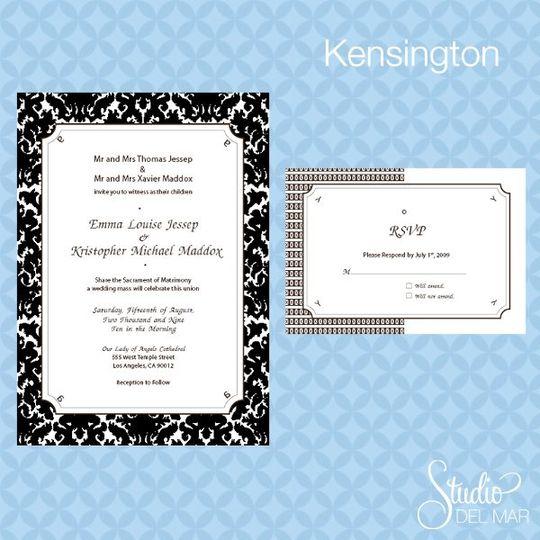 Kensington Suite - Invite and RSVP card www.thestudiodelmar.com