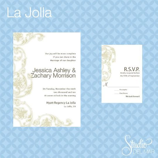 La Jolla Suite - Invite and RSVP card www.thestudiodelmar.com