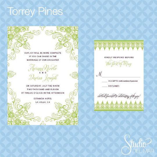 Torrey Pines Suite - Invite and RSVP card www.thestudiodelmar.com