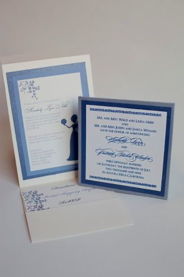 Bridal Invitation & matching Wedding Announcement with custom metallic thermography printing