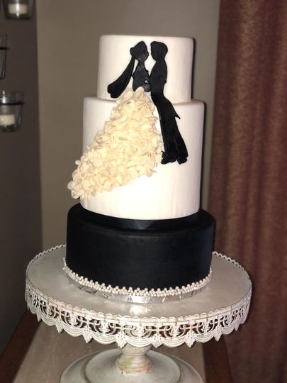 The bride and groom themed cake