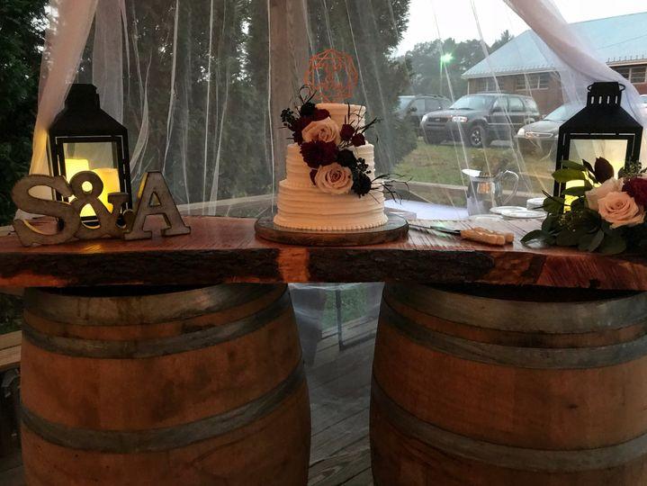 Wine barrel cake display