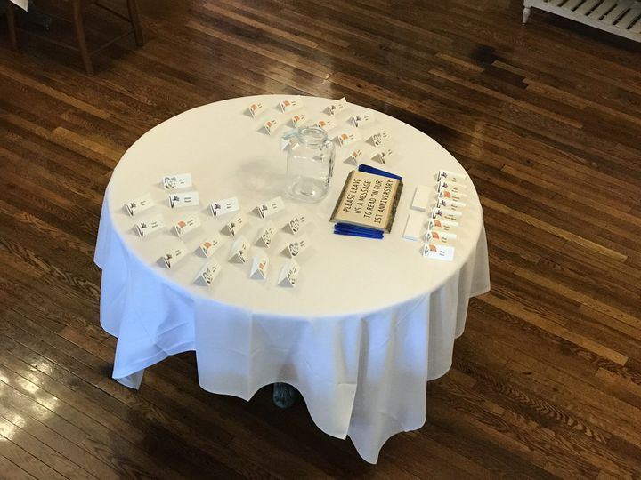 Message table with placecards