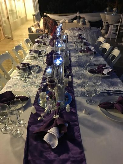 Beautiful purple table decor