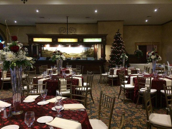 Tmx Banquet Room Red Tables W Centerpieces Towards Bar 51 53563 Geneva, New York wedding venue