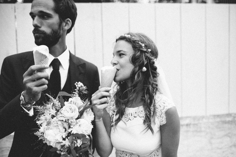 Couple eating ice cream
