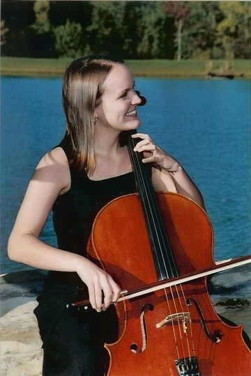 Cellist by the lake