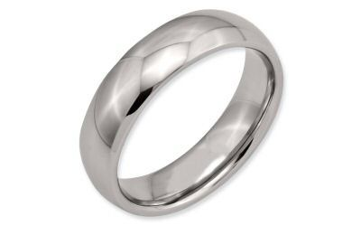 Chisel Stainless Steel 6mm Half Round Flat Edge Comfort Fit Band.  The band is 6mm with a half round...