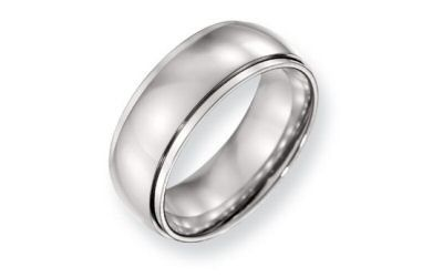 hisel Stainless Steel 8mm Half Round Stepped Edge Band.  The band is 8mm with a half round center,...