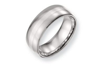 Chisel Stainless Steel 8mm Sterling Silver Inlaid Rounded Edge Band.  The band is 8mm with a inlaid...