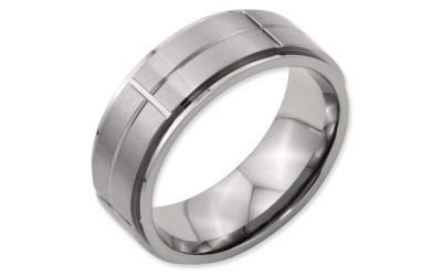 Chisel Titanium 8mm Raised Center Horizontal and Vertical Grooved Line Band.  8mm with a single...