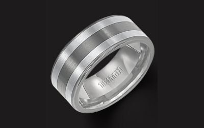 Triton TC850 Flat 8.5mm Double Row Inlaid Sterling Silver Band.  8.5mm wide with a seamless double...