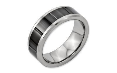 Chisel Dura Tungsten & Black Ceramic 8mm Vertical Grooved Band.  8mm with an inlaid vertical grooved...