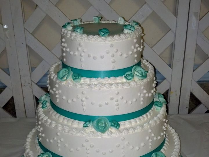 Tmx 1407795889403 4 Tier Aqua Green With Ribbon Philadelphia wedding cake