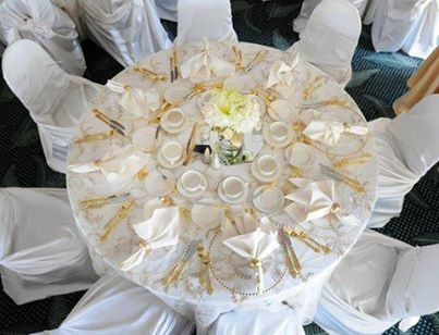 The round tables with white table cloths