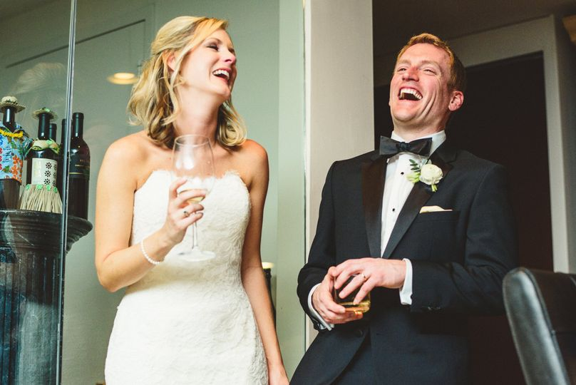 Laughter from the newlyweds