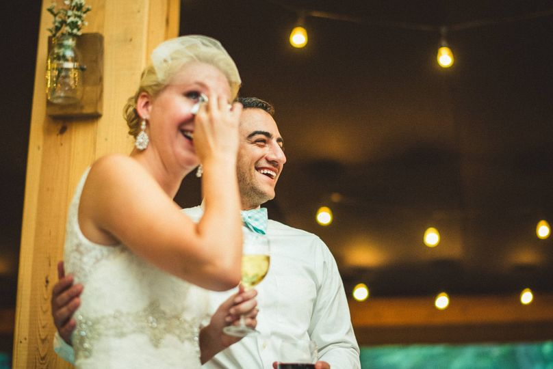 Smiles from the newlyweds