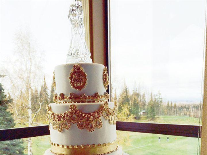 Tmx 1458047520624 Embelished Gold Cake Anchorage wedding
